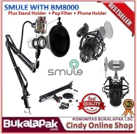 Promo Termurah Pro Stand Microphone Smartphone Holder 5 In 1 Jumbo St jual paket microphone condenser bm 8000 live or