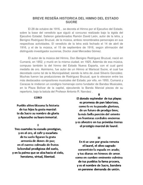 BREVE RESEÑA HISTORICA DEL HIMNO DEL ESTADO SUCRE