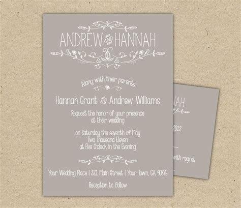 Vintage Wedding Invitation and RSVP P R I N T E D country