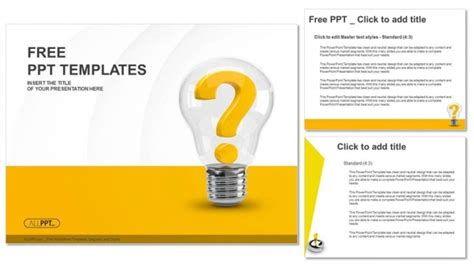 powerpoint templates question mark light bulb with question mark as idea and solution symbol