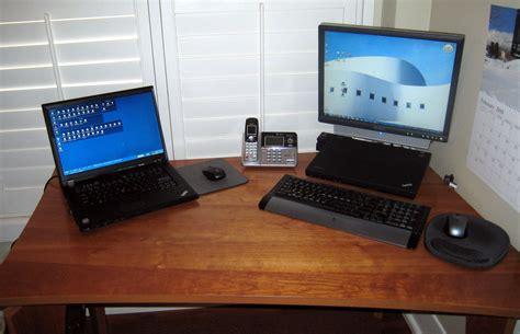 laptop desk setup laptop desk setup the neatnick s desk setup wayne s