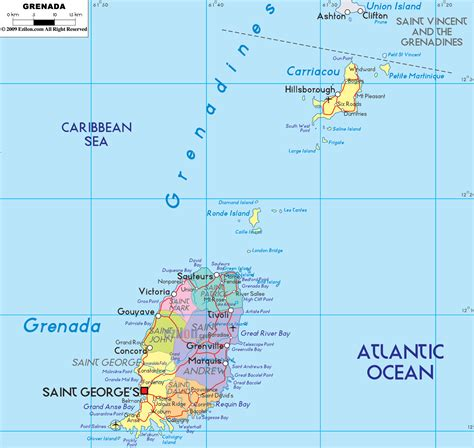map of grenada island political map of grenada ezilon maps