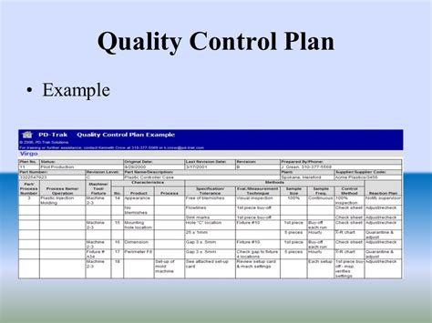 quality control plan sample template my best templates