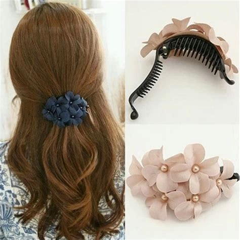 Parfum Korean Hair Clip korean hair accessories big flower hair barrette ponytail holder hair grips