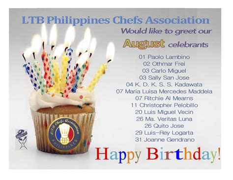 Ltb Philippines August Birthday Greetings Ltb Chefs Phils