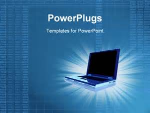 powerpoint template 3d laptop computer with lines of