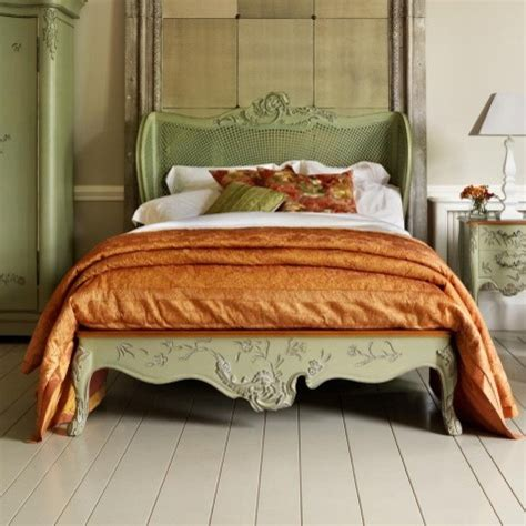 Painted Beds by Painted Floral Caned Or Upholstered Wooden Bed