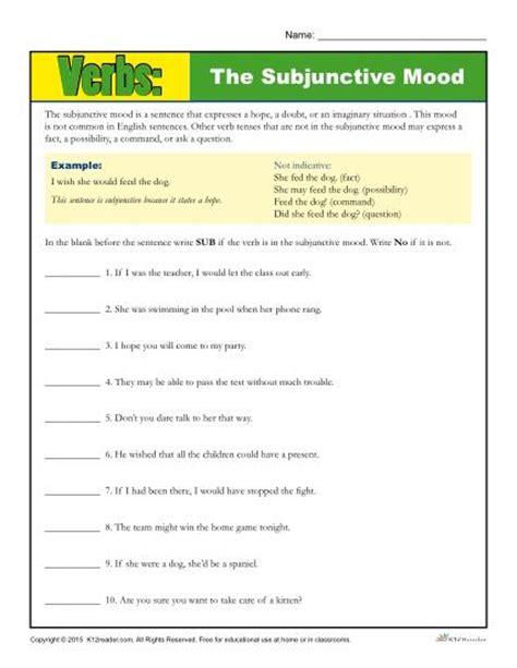 Verb Moods Worksheet the subjunctive mood verb worksheet
