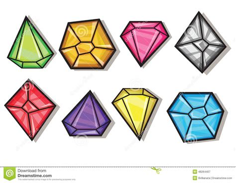 Vector Clip Of A Set Of Different Colored Vector Gems And Diamonds Icons Set Stock Vector Image 48264407