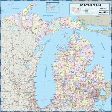 maps of michigan michigan counties wall map maps