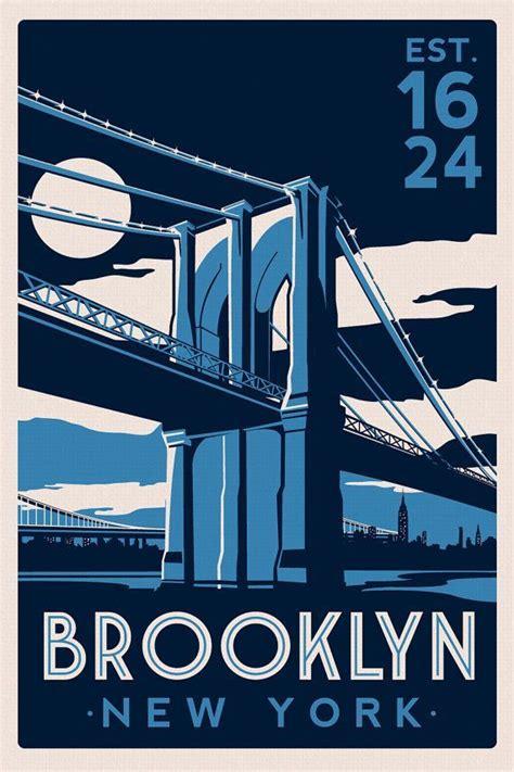 Cool Silkscreened Posters by Bridge New York City Skyline Vintage Retro Silk
