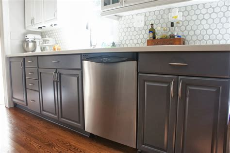 Gray Painted Cabinets | remodelaholic gray and white kitchen makeover with hexagon tile backsplash