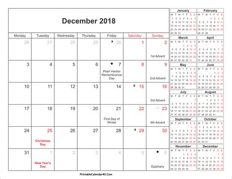 printable calendar 2018 with moon phases december 2018 calendar printable with holidays pdf and jpg