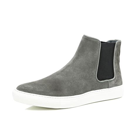 river island grey suede flat sole chelsea boots in