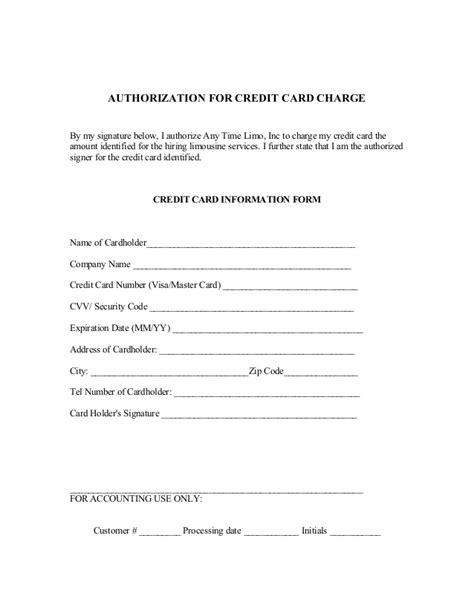 Sle Credit Card Number For Authorize Net Reservation Contract And Credit Card Authorization Form