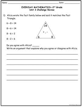 Everyday Math Grade 2 Unit 3 Study Guide/Review {More Fact