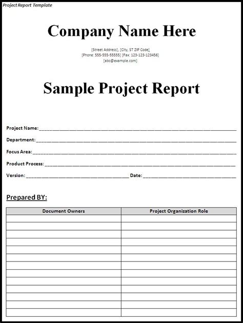 business report template word 2007 project report template word excel formats