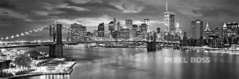 Panoramic Wall Murals new york city skyline black and white with brooklyn bridge