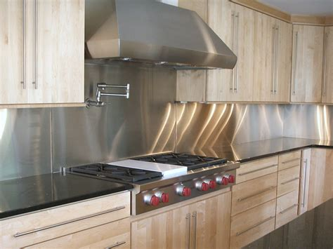 kitchen with stainless steel backsplash product images commerce metals