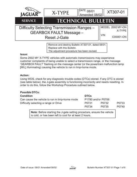 jaguar x type gearbox fault message jaguar x type technical service bulletin xt307 01