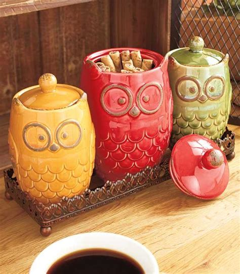 new 8 pc autumn owl countertop collection canisters w