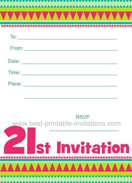 free 21st birthday invitations templates free printable 21st birthday invitation