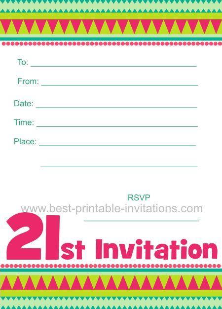 free 21st birthday invitations templates free printable 21st birthday invitation