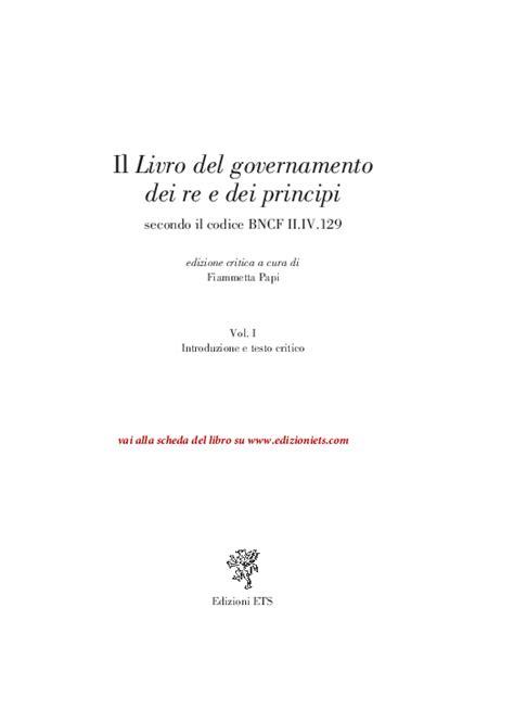 """(PDF) Il """"Livro del governamento dei re e dei principi"""