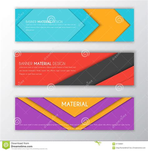 material design header image banner in the style of the material design stock vector
