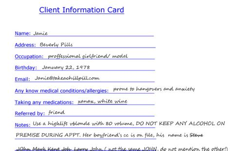 customer information card template salon confessional