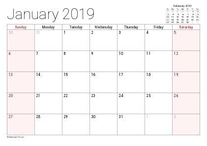 2019 printable calendar templates online