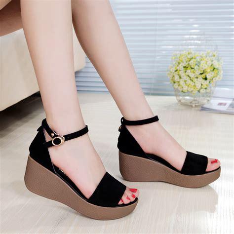 Sandal Wanita Fn03 T Platform Heels Black 2014 black genuine leather platform sandals s shoes