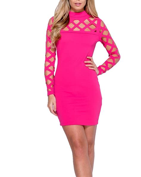 Dress Moni Laser 4 Wrn laser cut out bodycon sleeve caged mini