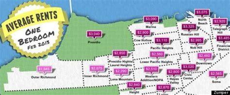 san francisco rent map san francisco rental rates zumper maps the average