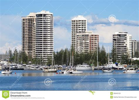 gold coast appartment gold coast apartments on the nerang river stock photos