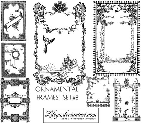 cornici gimp ornamental frames set 3 decorative photoshop brushes