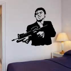 Scarface Wall Mural Wall Stickers Vinyl Decal Scarface Film Gangster Mafia Gun