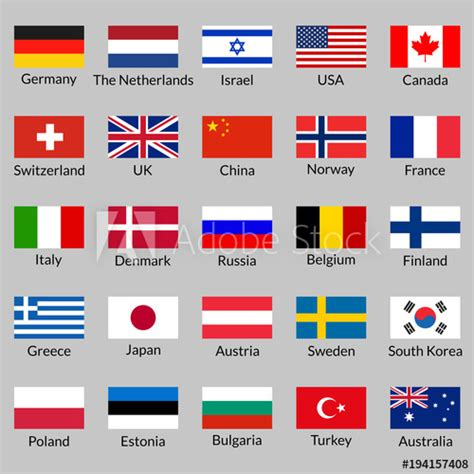 flag icon set national flags of usa uk germany