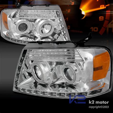 04 08 Ford F150 Dual Halo R8 Style Projector Headlights Chrome