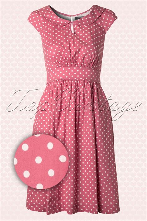 Nl Dress Polka 50s poppy a line cotton dress in blush polka