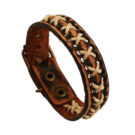 Handmade Mens Leather Cuff Bracelets - fashion ethnic style handmade vintage braided cow leather