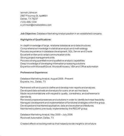 Analyst Resume Template by Marketing Analyst Resume Template 16 Free Sles