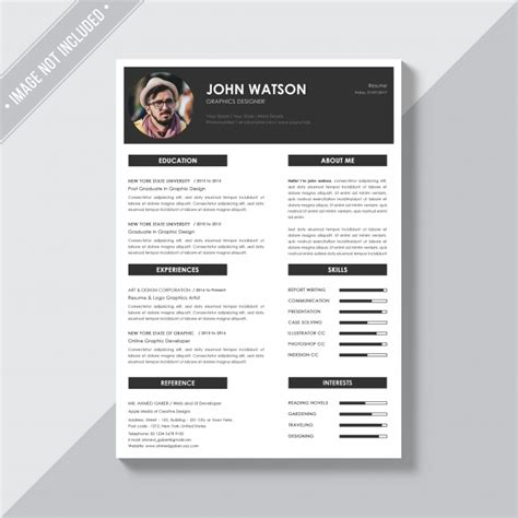 cv design hotellerie elegant cv template psd file free download
