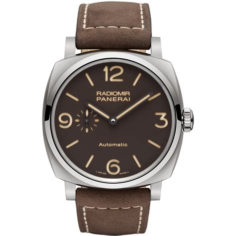 Panerai Firenzi Silver Brown Leather Automatic panerai radiomir 1940 3 days automatic titanio pam00619 titanium pam 619 world s best