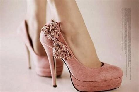 pretty pink high heels bow fashion girly heels high heels image 218439 on