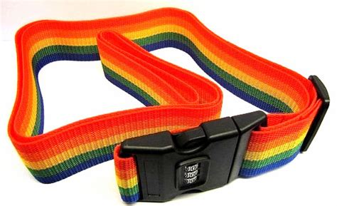 Gembok Koper travel rainbow luggage coded lock suitcase belt stripe tali koper password multi color