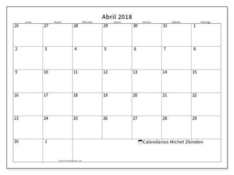Abril Calendario Calendarios Para Imprimir Abril 2018 Todas Las Fechas