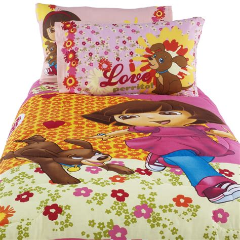 dora comforter nickelodeon dora and puppy twin comforter home bed