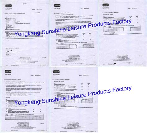 upholstery certificate certificates yongkang sunshine leisure products factory