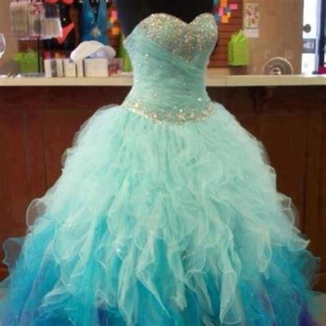 Bjg Blue Dress dress ruffle blue sparkle prom prom dress i you